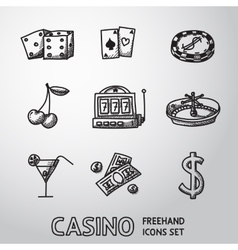 Casino gambling freehand icons set vector