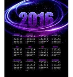 Calendar for 2016 on abstract background vector