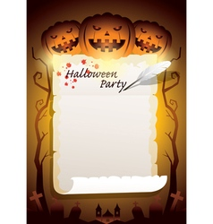 Halloween pumpkins with scroll paper vector
