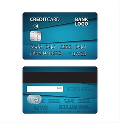 Blue credit card isolated on white background vector
