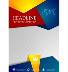 Abstract tech corporate flyer design vector