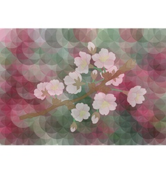 Apple tree branch on mosaic background vector