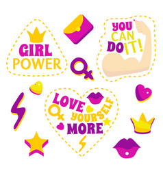 Cartoon color feminism slogan and patches set vector