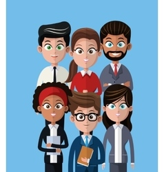 cartoon people team work professional vector image vector image