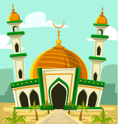 cartoon typical mosque building with golden dome vector image vector image