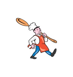 Chef cook marching spoon cartoon vector