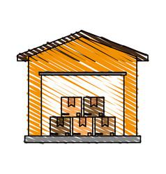 Color crayon stripe cartoon storage cellar with vector