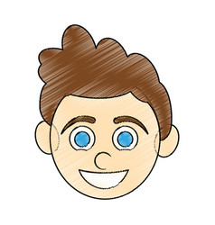Color pencil caricature front face boy with vector