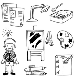 Doodle school education children pen pencil vector