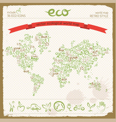 Eco design concept in world map shape vector