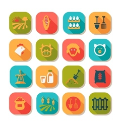 Flat farm icon set vector