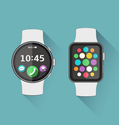 Flat modern smart watch with long shadow vector