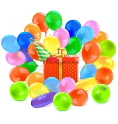 Gift with balloons vector