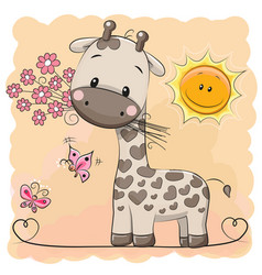 Giraffe with flowers and butterflies vector