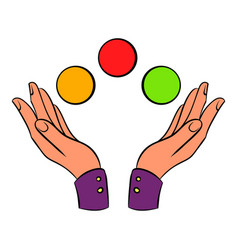 Hands juggling balls icon cartoon vector