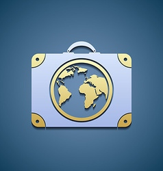 Icon suitcase with a map vector