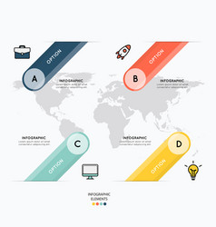 Icons and infographic design on map background vector