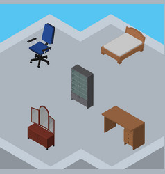 Isometric design set of sideboard table office vector