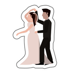 Just married couple dancing together vector