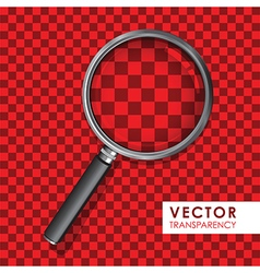 magnifying glass transparency on checkered red vector image