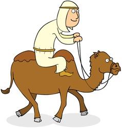 Man riding camel vector
