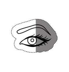 Monochrome contour sticker with female eye and vector
