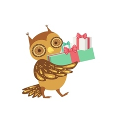 Owl cute animal character attending birthday party vector
