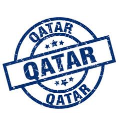 qatar blue round grunge stamp vector image vector image