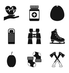 Rehabilitation icons set simple style vector