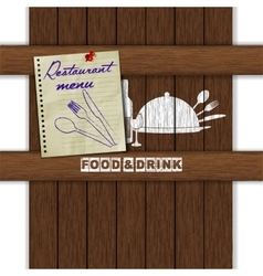 restaurant menu food drink white paint wood uno vector image