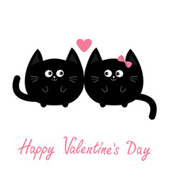 round shape black cat icon love family couple vector image vector image