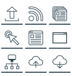 Set of 9 internet icons includes save data wifi vector