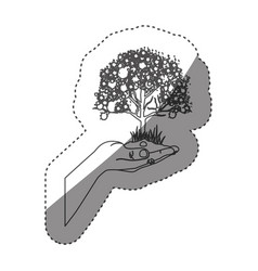 Sticker grayscale contour with leafy tree over vector