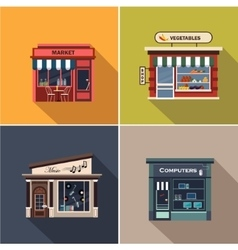 Stores and Shop Facades Flat vector image vector image