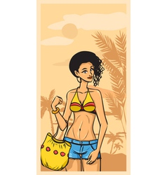 Summer and beautiful girl in jeans and swimsuit vector image vector image