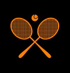 Tennis racket sign orange icon on black vector