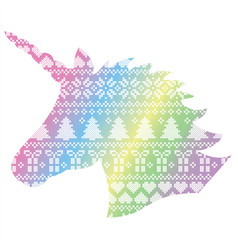 Unicorn shape on nordic xmas pattern vector