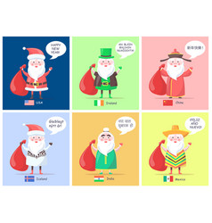 Usa and ireland santa clauses vector