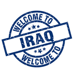 Welcome to iraq blue stamp vector