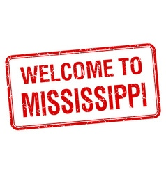 Welcome to mississippi red grunge square stamp vector