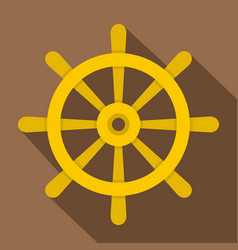 Wooden ship wheel icon flat style vector