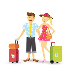 Young couple summer holiday vacation travel summer vector