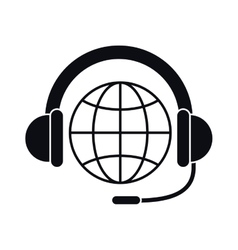 Headphone and global sphere design vector