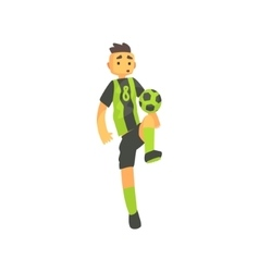 Football player in green uniform isolated vector