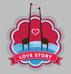 Giraffe love story vector