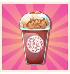 Delicious cold caramel frappe ice-cream vector