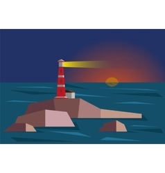 Lighthouse during sunset vector