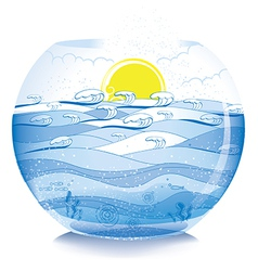 Sea on fish bowl vector