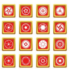 Photo diaphragm icons set red vector