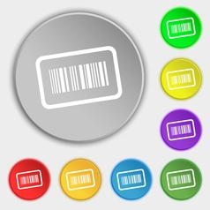 Barcode icon sign symbol on eight flat buttons vector